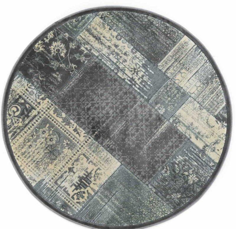 שטיח עגול דוגמת פאצ' אפור