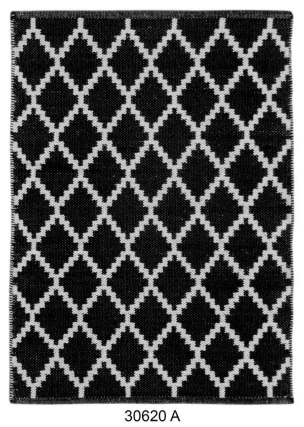 שטיח כותנה דוגמת מעויינים בצבע שחור
