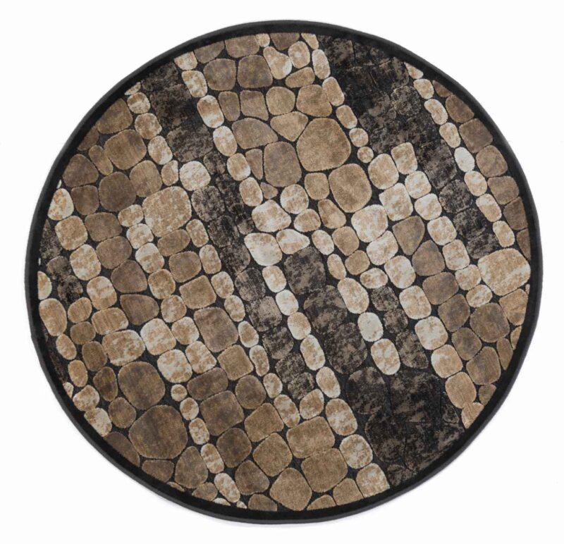 שטיח מודרני עגול דוגמת אבנים