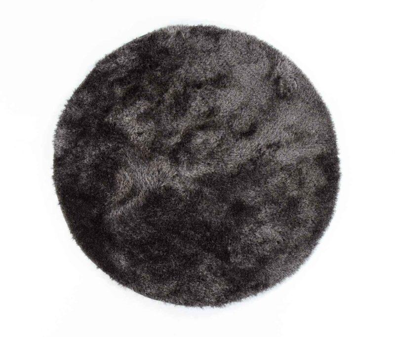 שטיח שאגי עגול אפור כהה