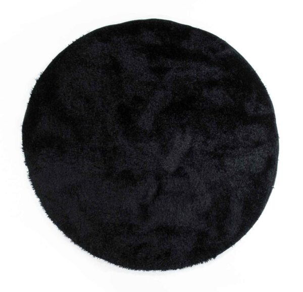 שטיח שאגי עגול - צבע שחור