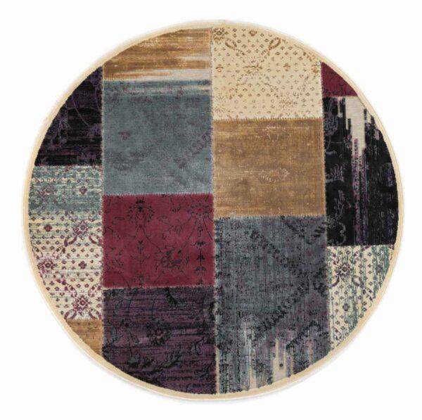 שטיח מודרני עגול צבעוני בסגנון פאצ'
