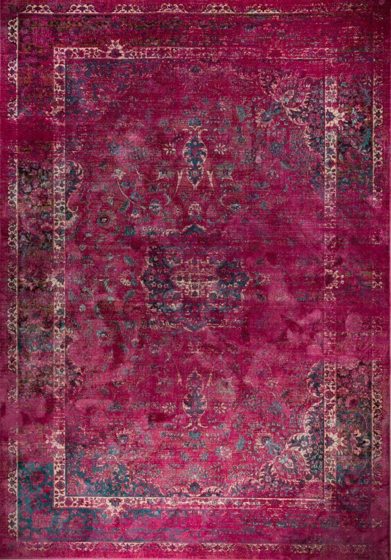 שטיח וינטג' בדוגמה קלאסית צבע פוקסיה