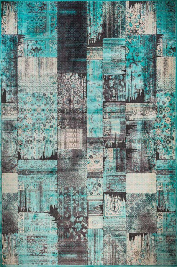 שטיח מודרני בדוגמת פאצ' טורקיז
