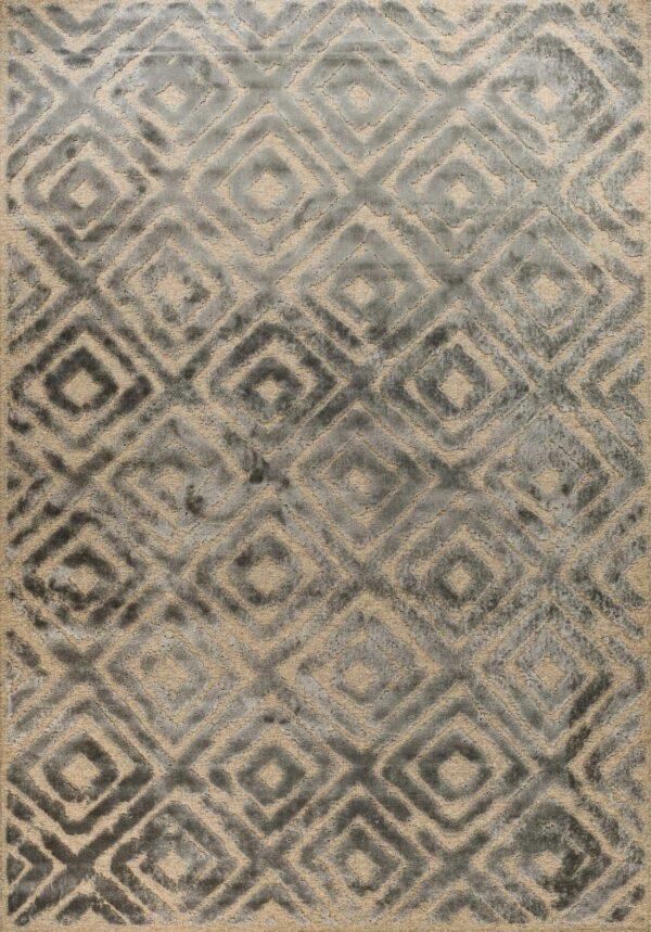 שטיח מודרני גאומטרי מעויינים אפור שחוק