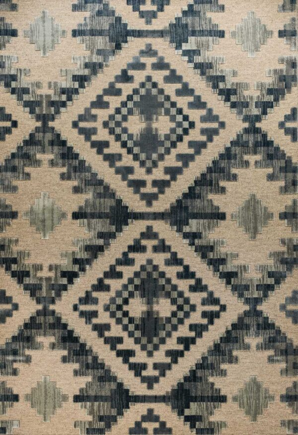שטיח מודרני בדוגמת קאזאק צבע כחול