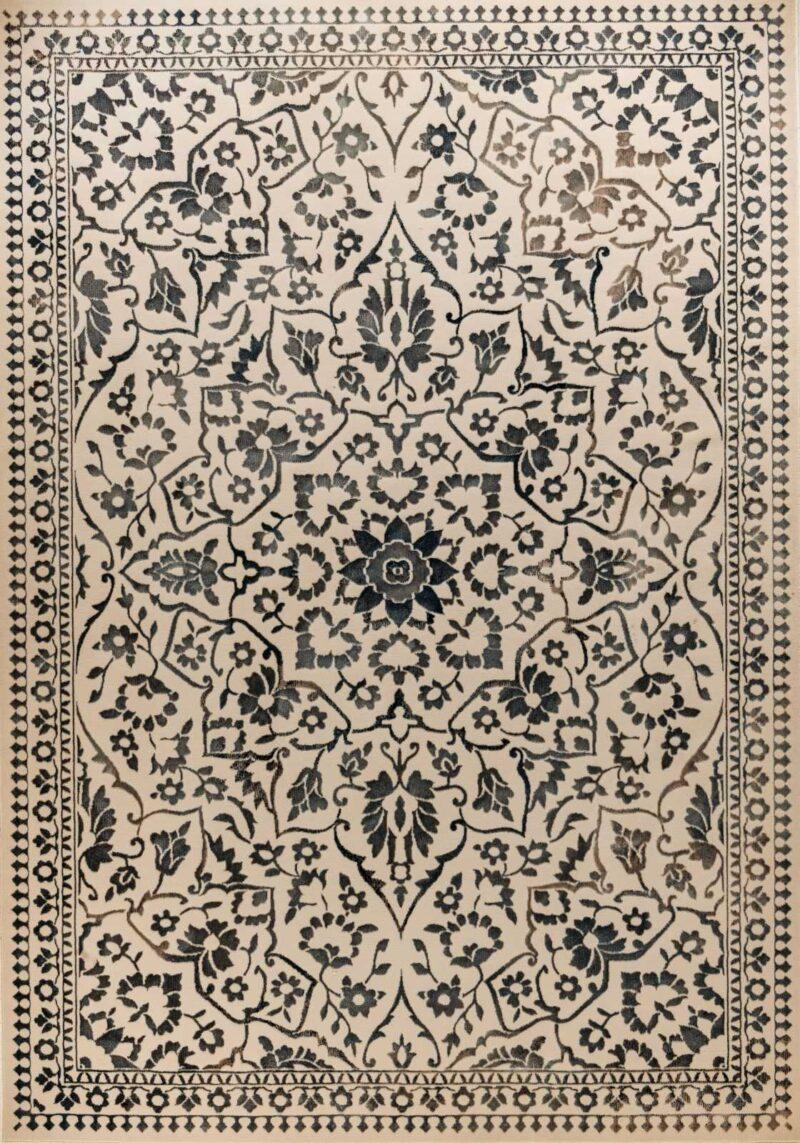 שטיח בדוגמת מדליון צבע שחור
