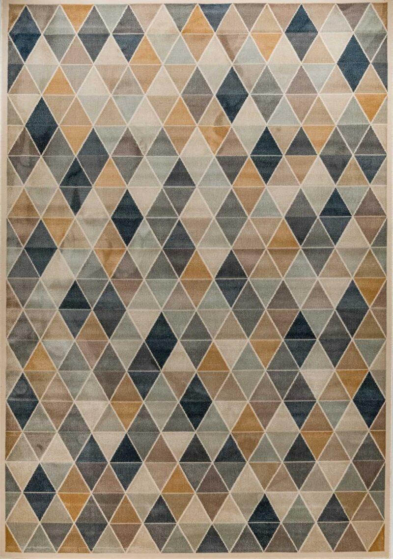 שטיח מודרני גיאומטרי צבעוני בדוגמת מעוינים
