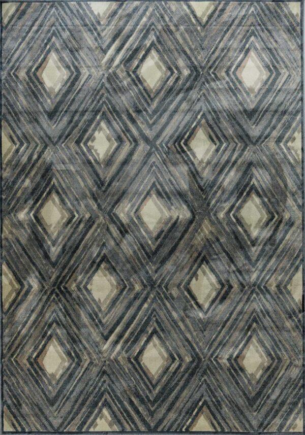 שטיח מודרני גאומטרי מעוינים אפור