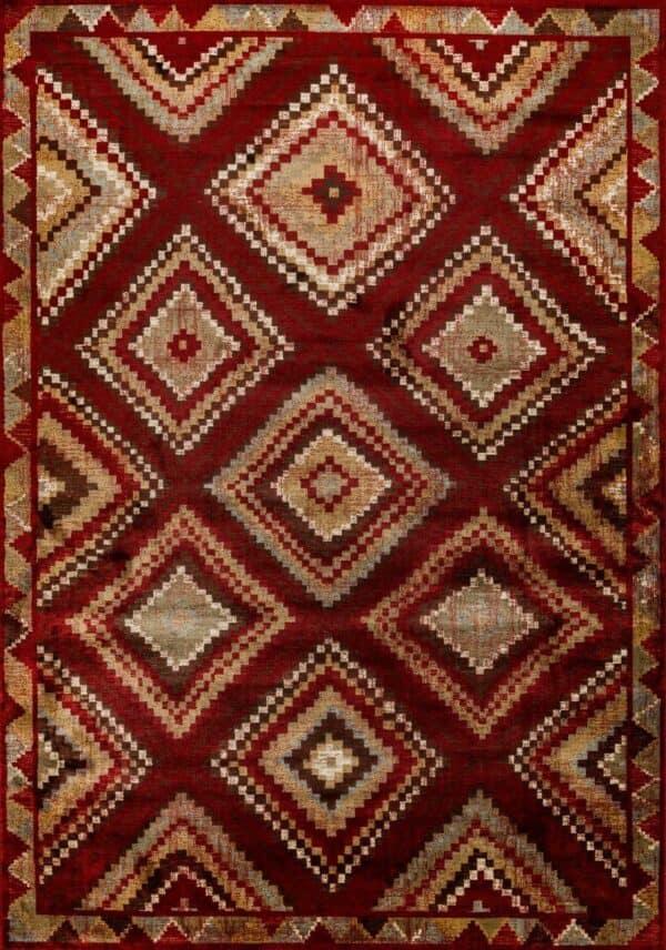 שטיח וינטג' גאומטרי דוגמת מעוינים