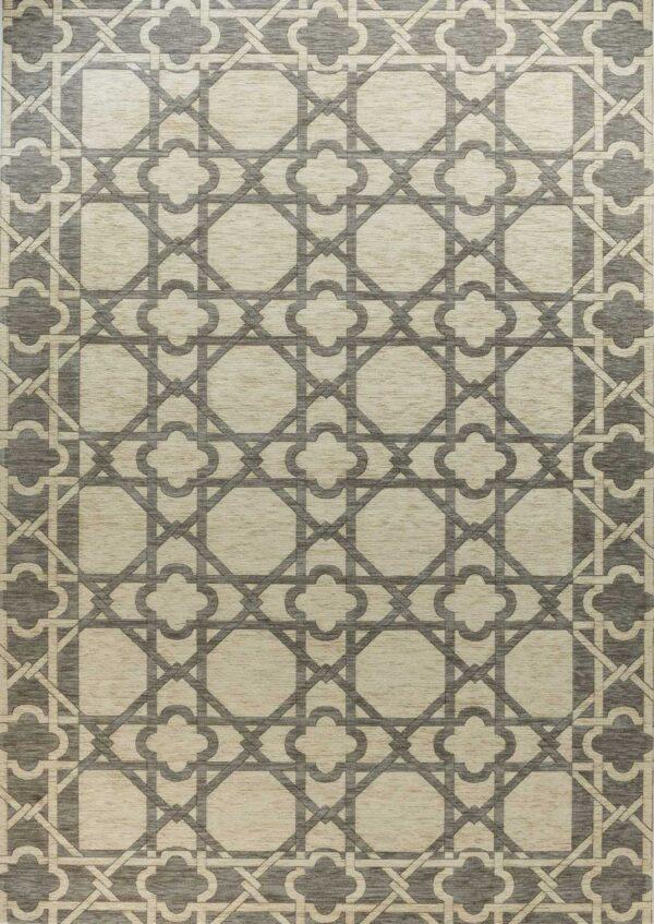 שטיח קרלוצ'י גאומטרי אפור לבן