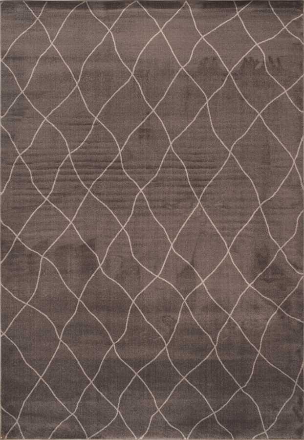 שטיח מודרני חום כהה דוגמה גיאומטרית