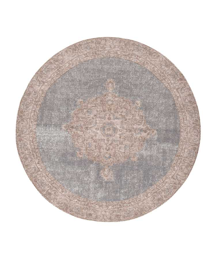 שטיח עגול אפור ורוד דוגמה קלאסית