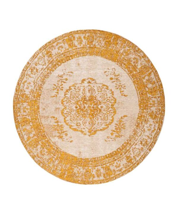 שטיח עגול צהוב דוגמת וינטייג'