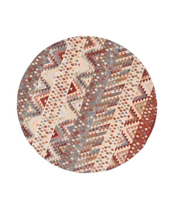 שטיח עגול מודרני בגווני אדום חום וכחול