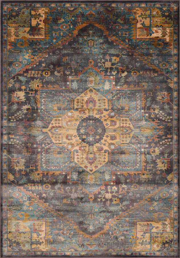 שטיח וינטיג' שחור זהב דוגמה קלאסית
