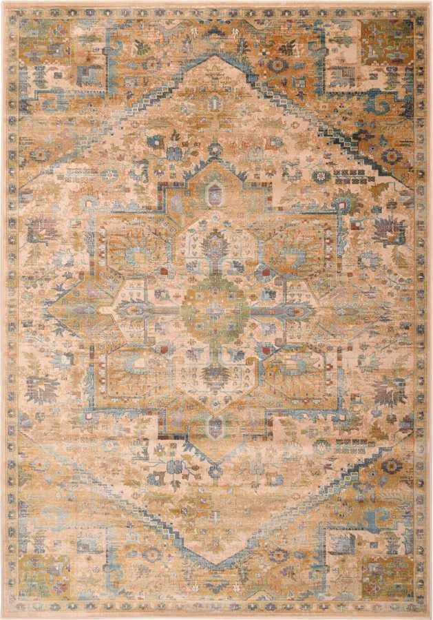 שטיח וינטיג' חום כחול דוגמה קלאסית
